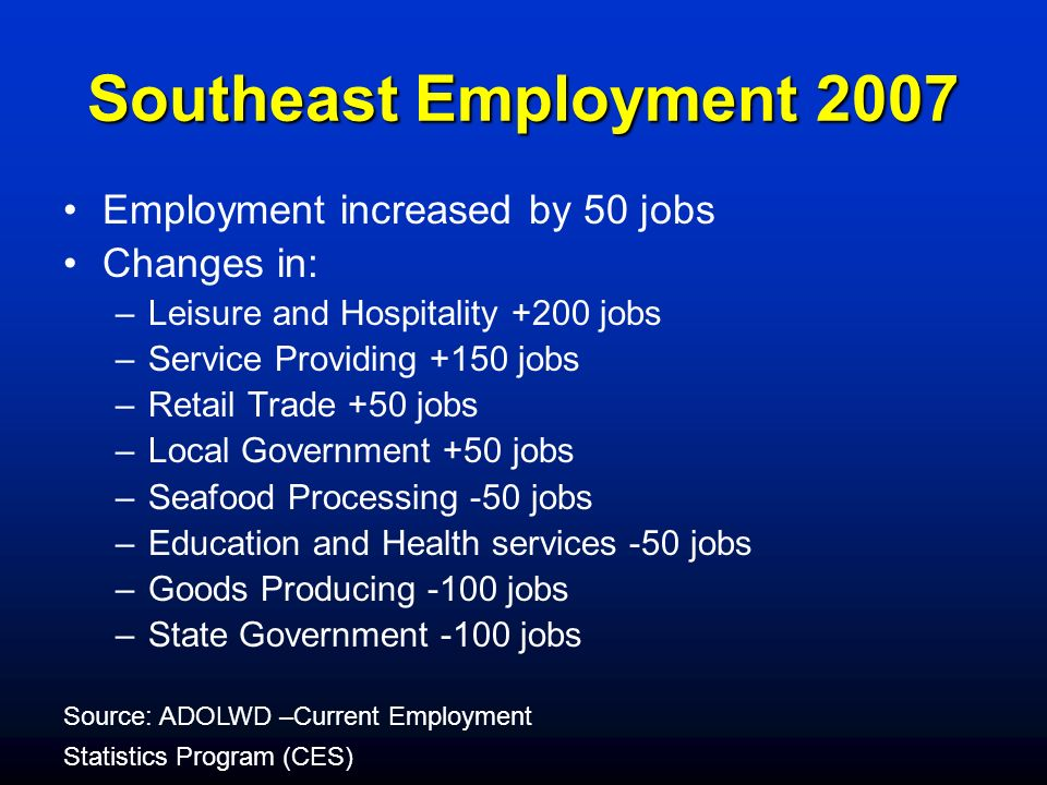 Southeast Employment 2007 Employment increased by 50 jobs Changes in: