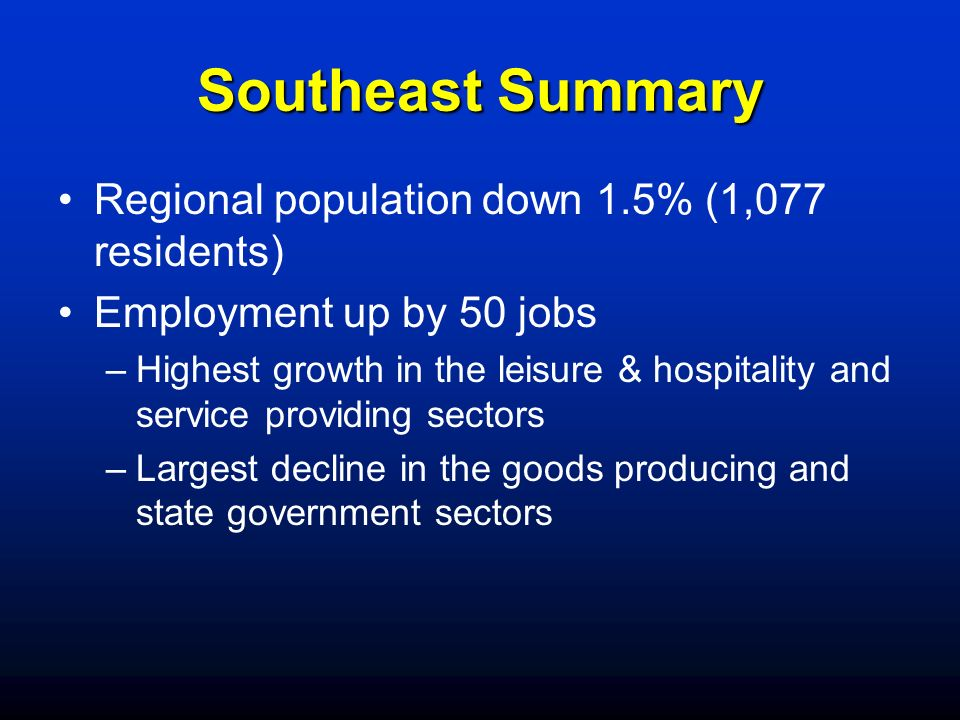 Southeast Summary Regional population down 1.5% (1,077 residents)
