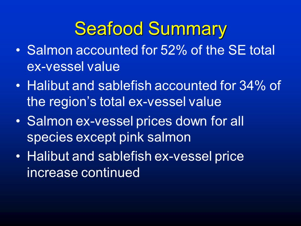 Seafood Summary Salmon accounted for 52% of the SE total ex-vessel value.