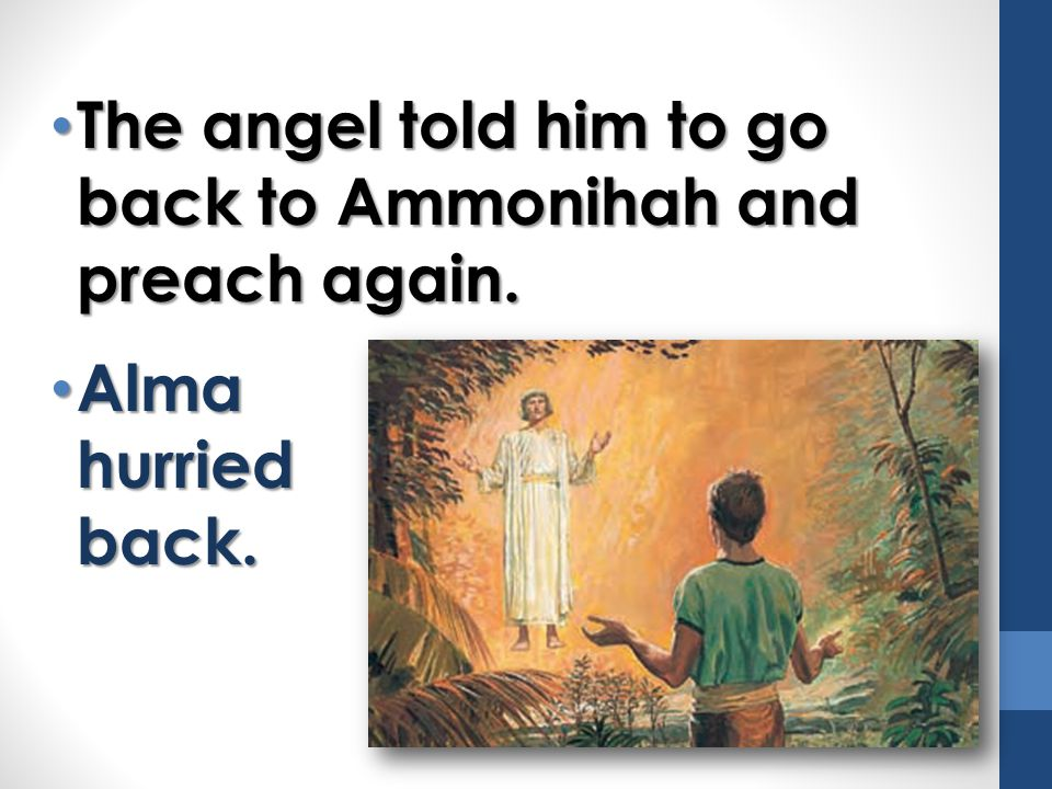 The angel told him to go back to Ammonihah and preach again.