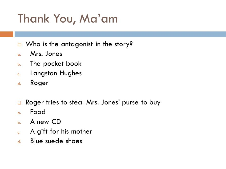Thank You, Ma'am The Lottery - ppt video online download