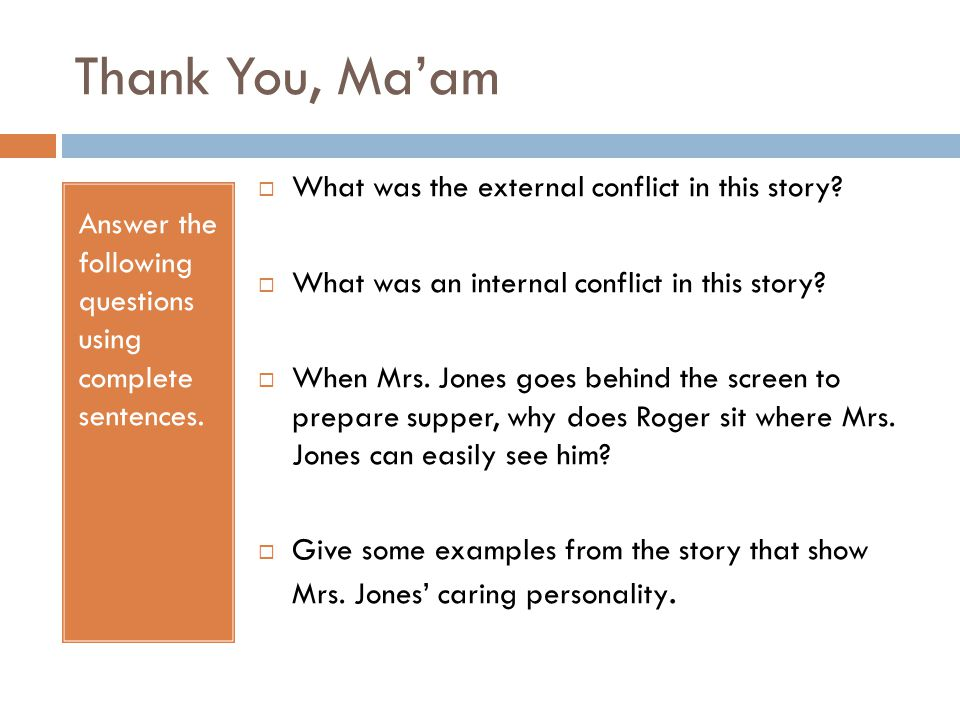 the story thank you ma am