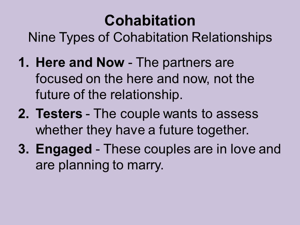 Pros and cons of heterosexual cohabitation