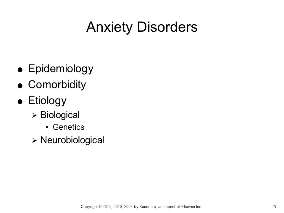 Anxiety Disorders Epidemiology Comorbidity Etiology Biological