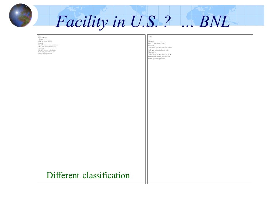 Facility in U.S. … BNL Different classification