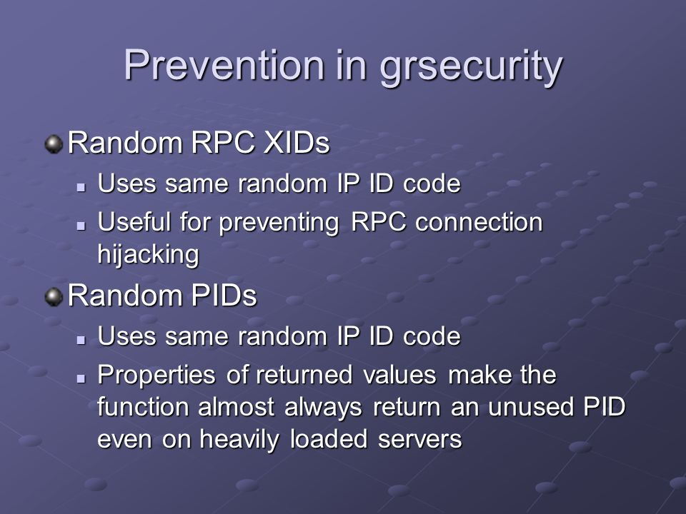 Prevention in grsecurity