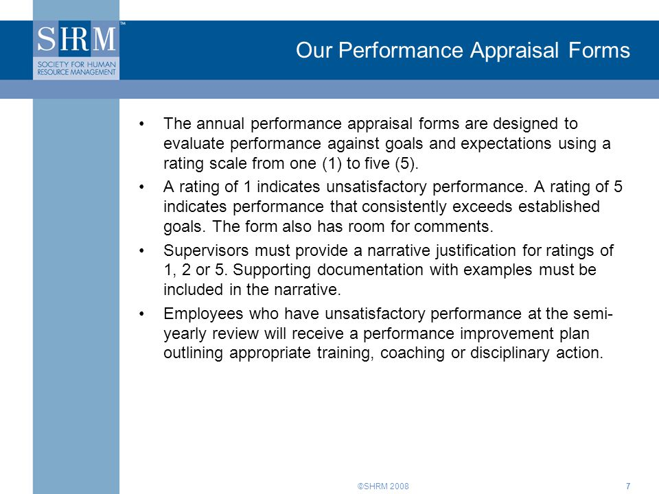 Our Performance Appraisal Forms