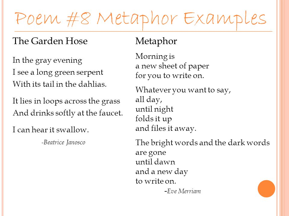 what type of poem is metaphor by eve merriam