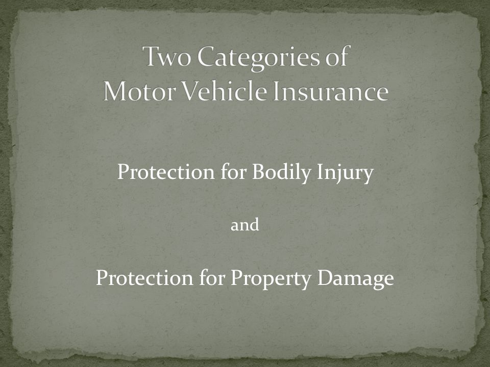 Two Categories of Motor Vehicle Insurance