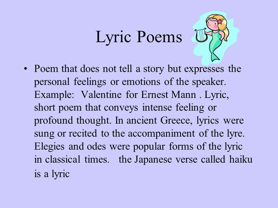 Lyric lyric poem examples : Poetry Notes Poetry is the most compact form of literature. - ppt ...