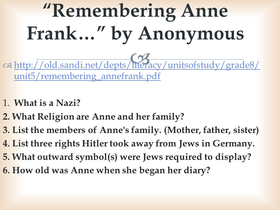 The Diary Of Anne Frank The Play Week 1 Ppt Video Online Download