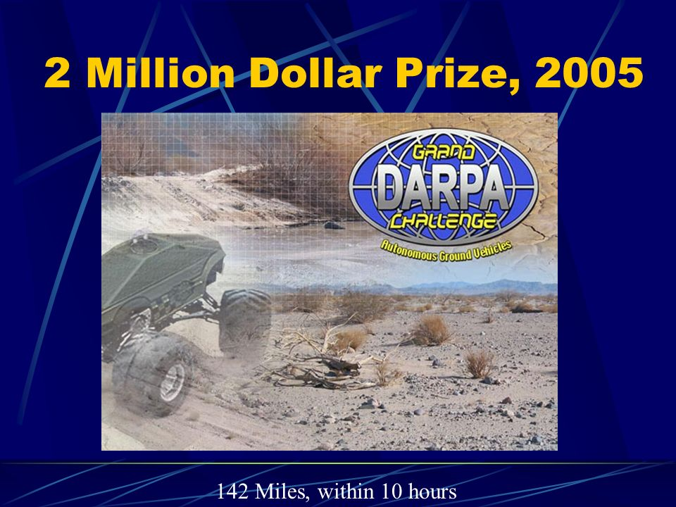 2 Million Dollar Prize, 2005 142 Miles, within 10 hours