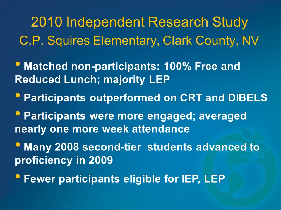 2010 Independent Research Study