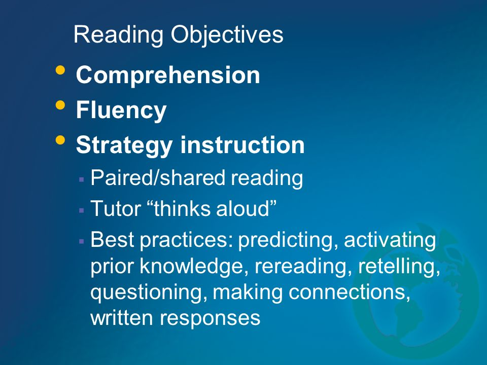 Reading Objectives Comprehension Fluency Strategy instruction