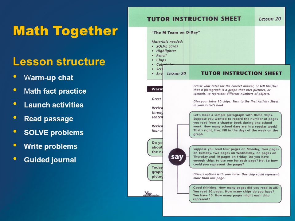 Math Together Lesson structure Warm-up chat Math fact practice