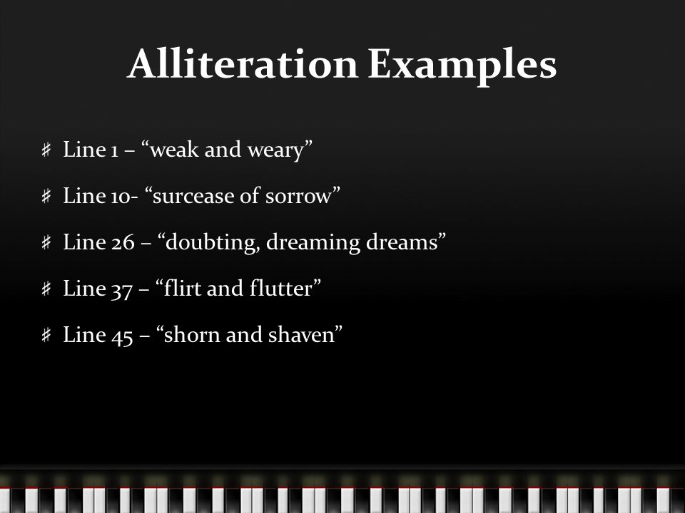 examples of alliteration in the raven