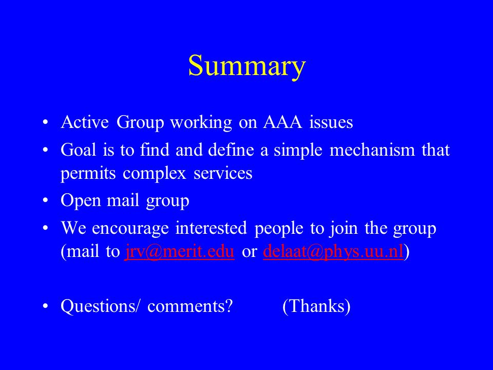 Summary Active Group working on AAA issues