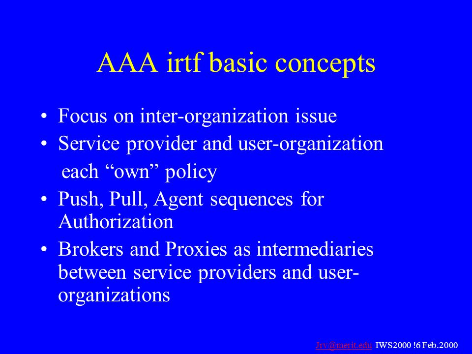 AAA irtf basic concepts