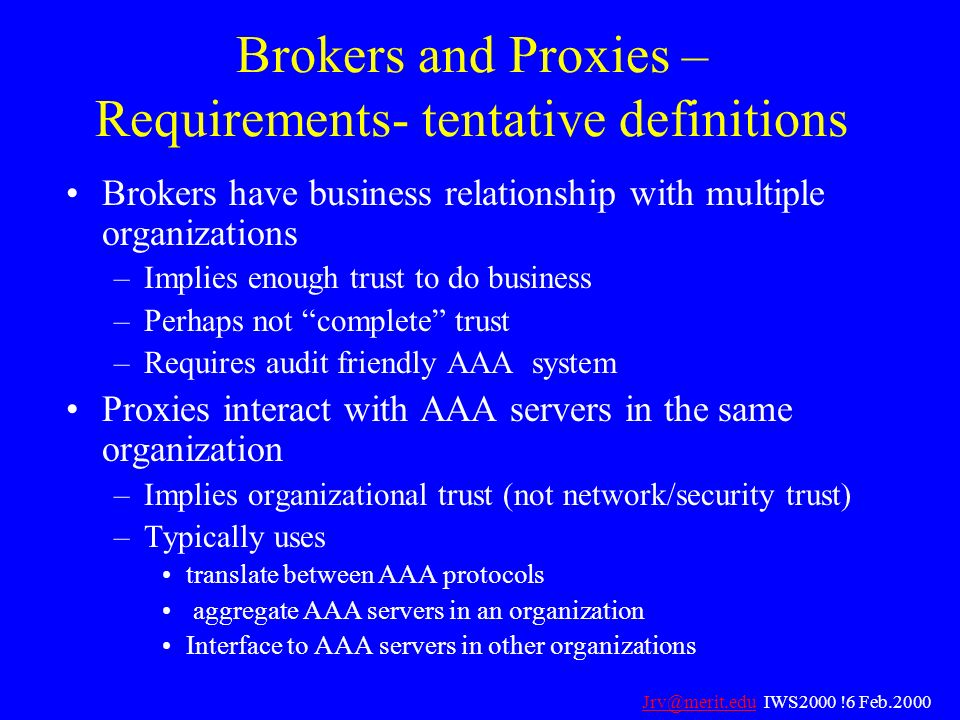 Brokers and Proxies – Requirements- tentative definitions