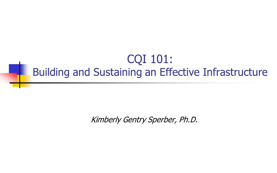 CQI 101: Building and Sustaining an Effective Infrastructure