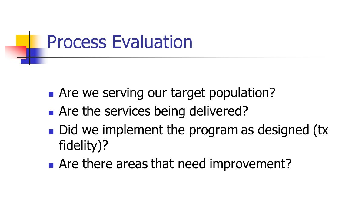 Process Evaluation Are we serving our target population