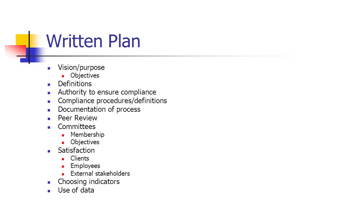 Written Plan Vision/purpose Definitions Authority to ensure compliance