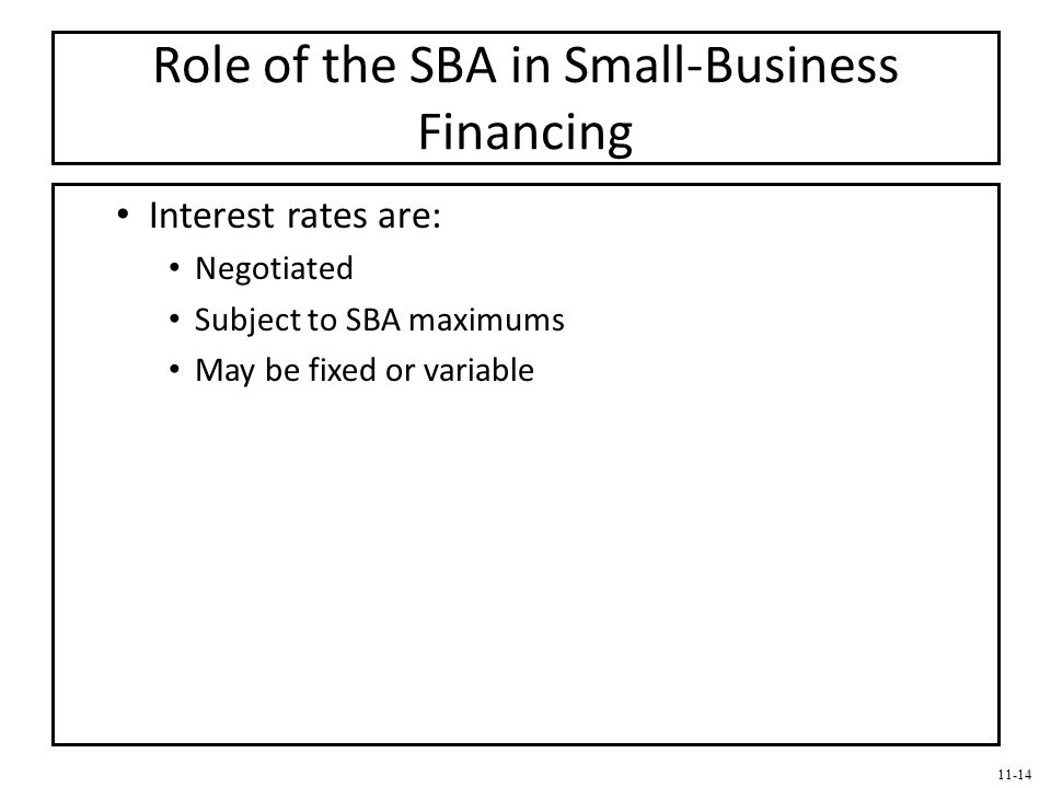 Role of the SBA in Small-Business Financing