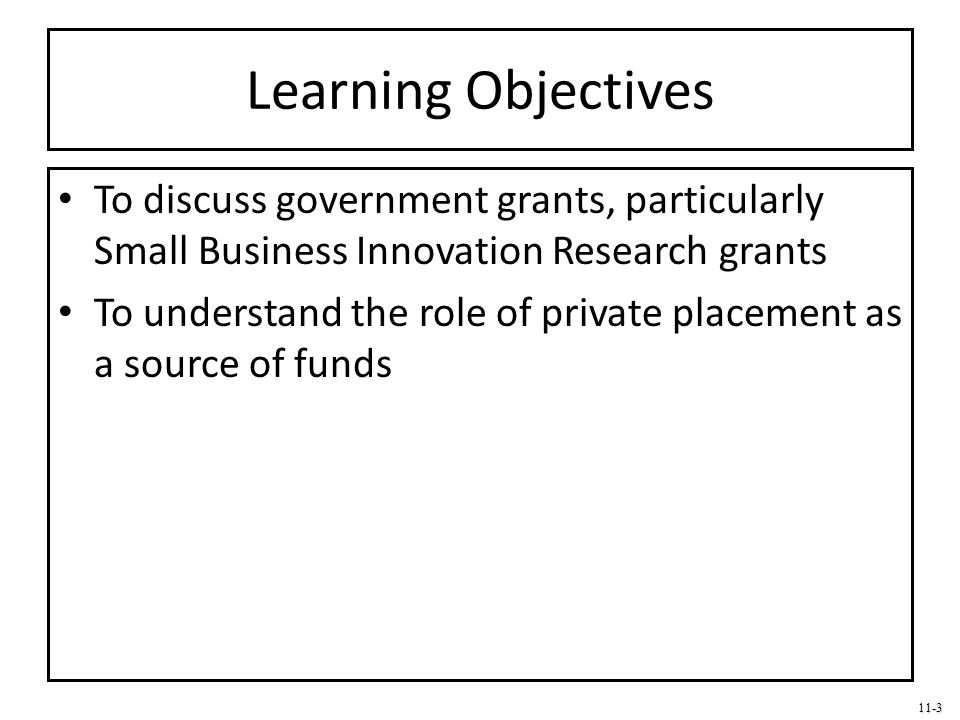 Learning Objectives To discuss government grants, particularly Small Business Innovation Research grants.