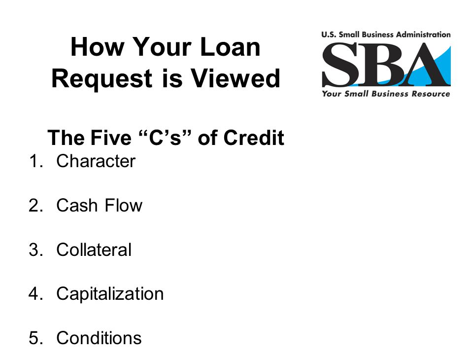 How Your Loan Request is Viewed The Five C's of Credit