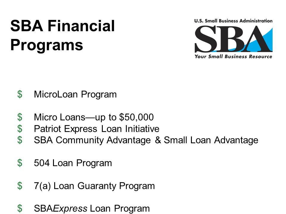 SBA Financial Programs