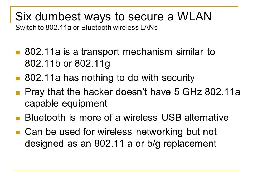 Six dumbest ways to secure a WLAN Switch to 802