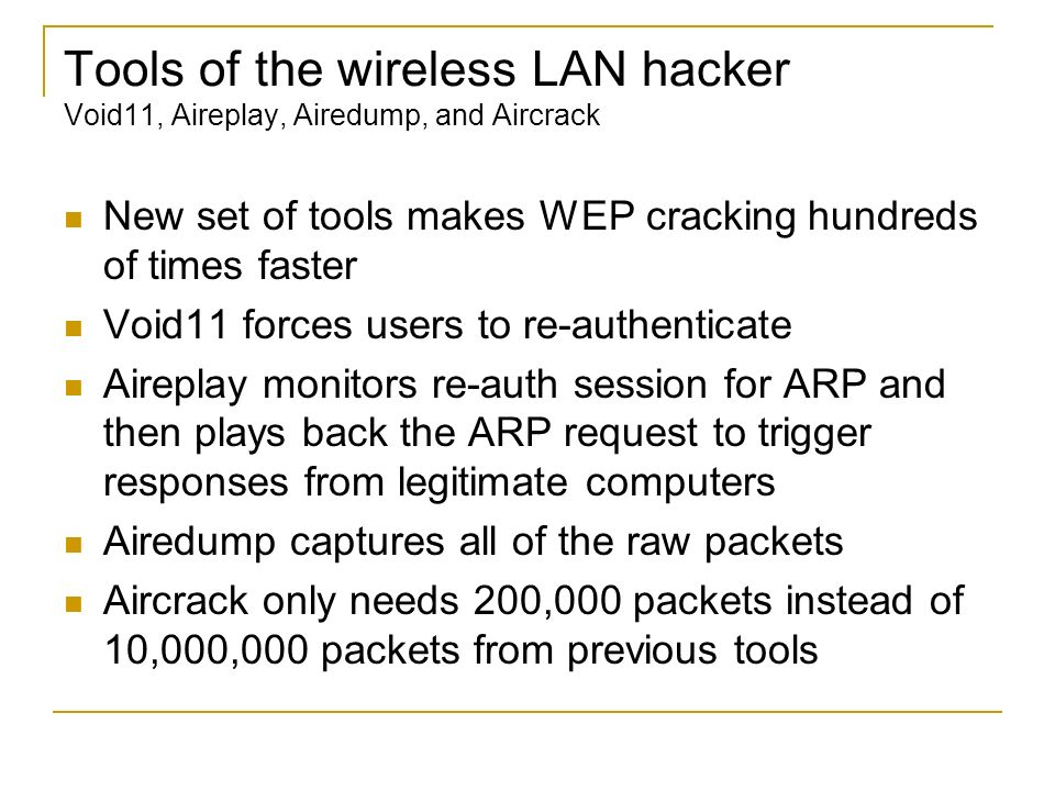 Tools of the wireless LAN hacker Void11, Aireplay, Airedump, and Aircrack