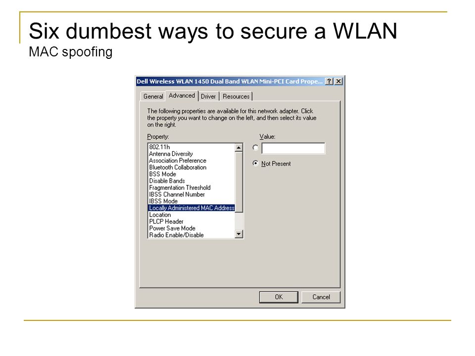 Six dumbest ways to secure a WLAN MAC spoofing