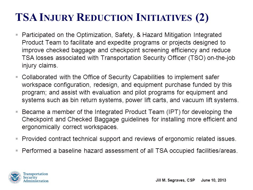 Transportation Security Administration Occupational Safety