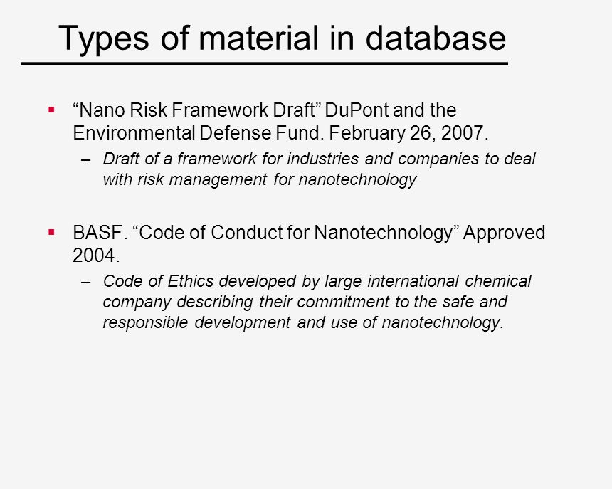 Types of material in database