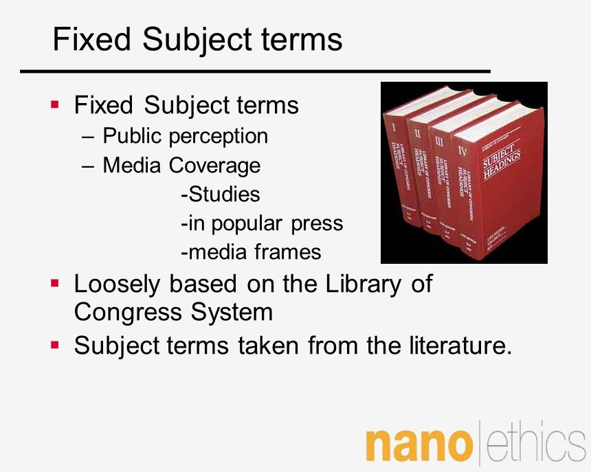 Fixed Subject terms Fixed Subject terms