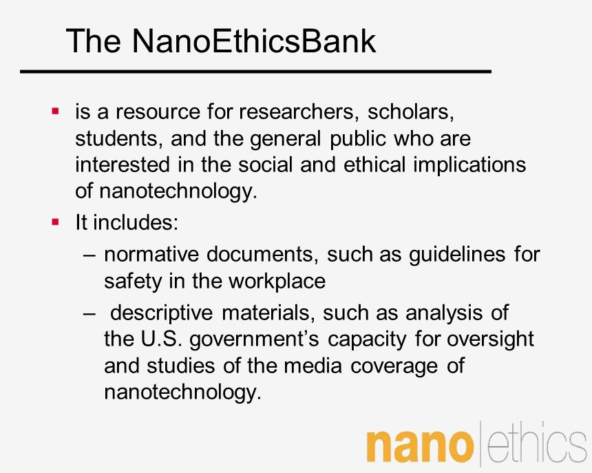 The NanoEthicsBank