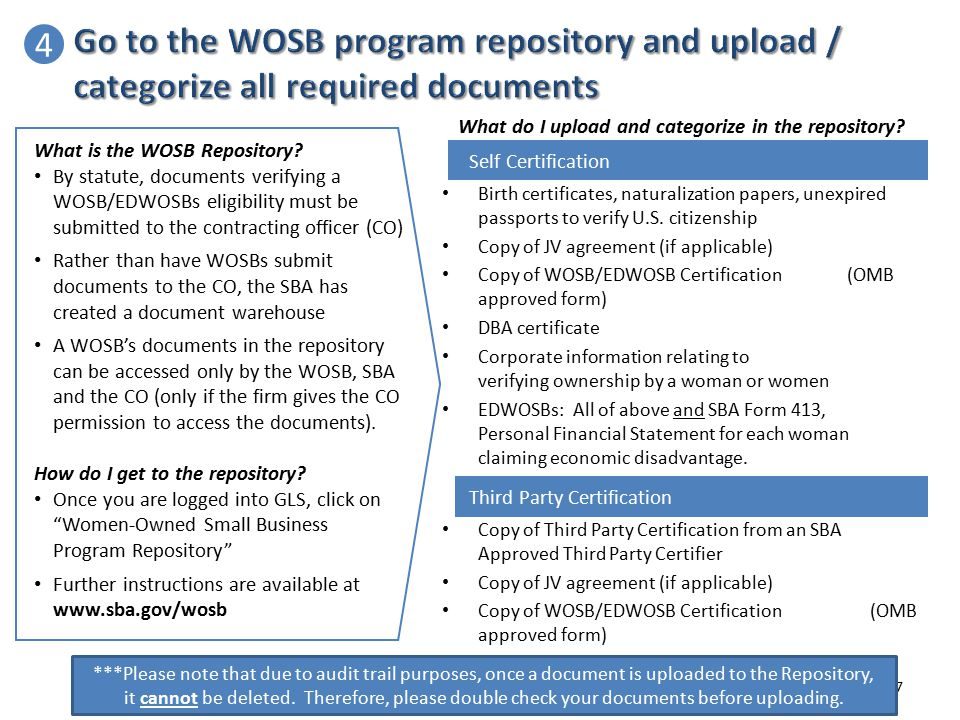 4 Go to the WOSB program repository and upload / categorize all required documents. What do I upload and categorize in the repository