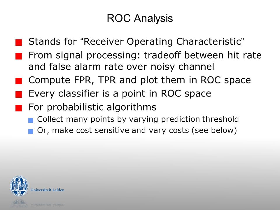 ROC Analysis Stands for Receiver Operating Characteristic