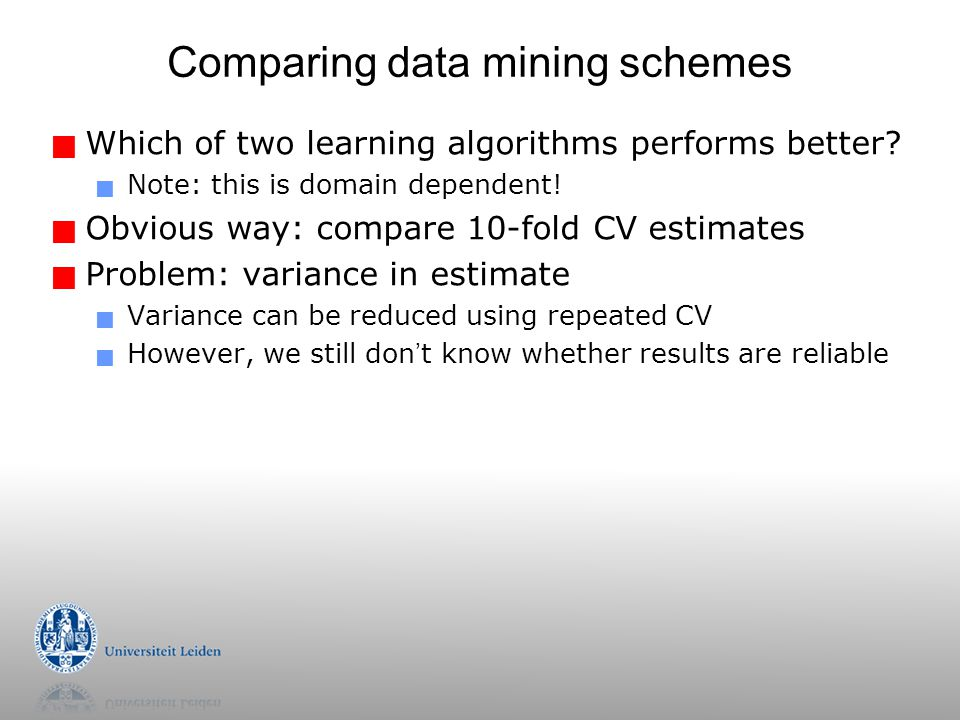 Comparing data mining schemes