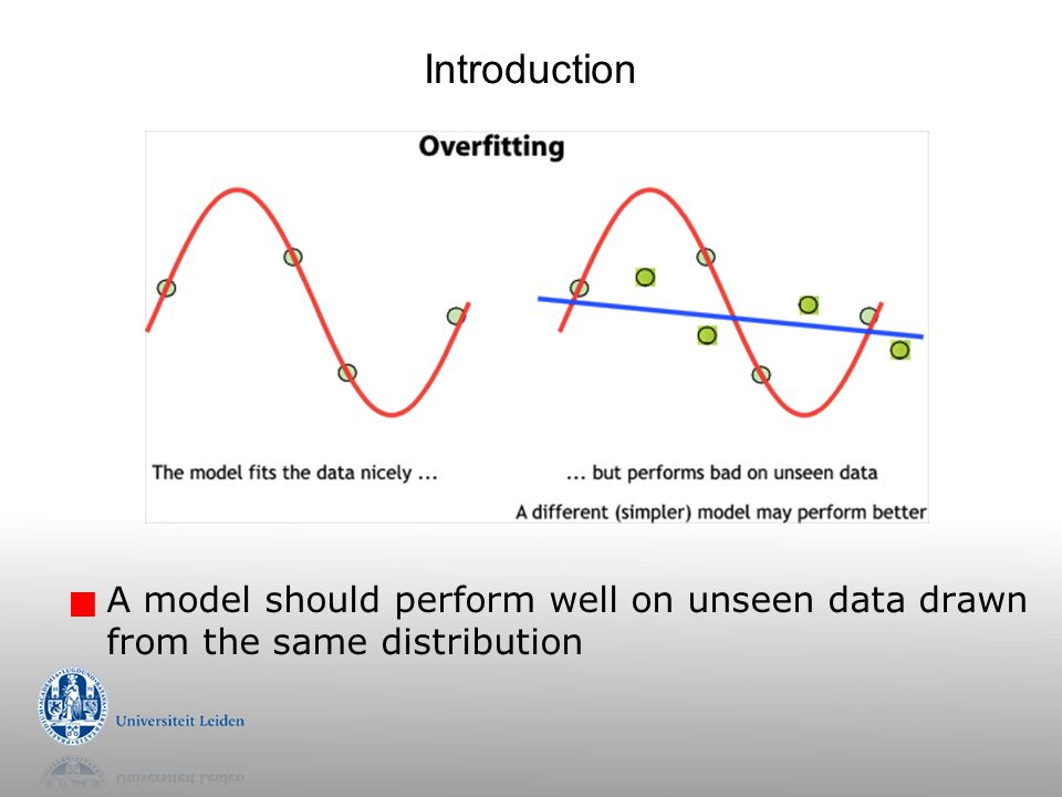 Introduction A model should perform well on unseen data drawn from the same distribution