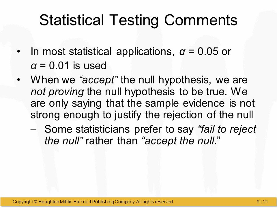 Statistical Testing Comments