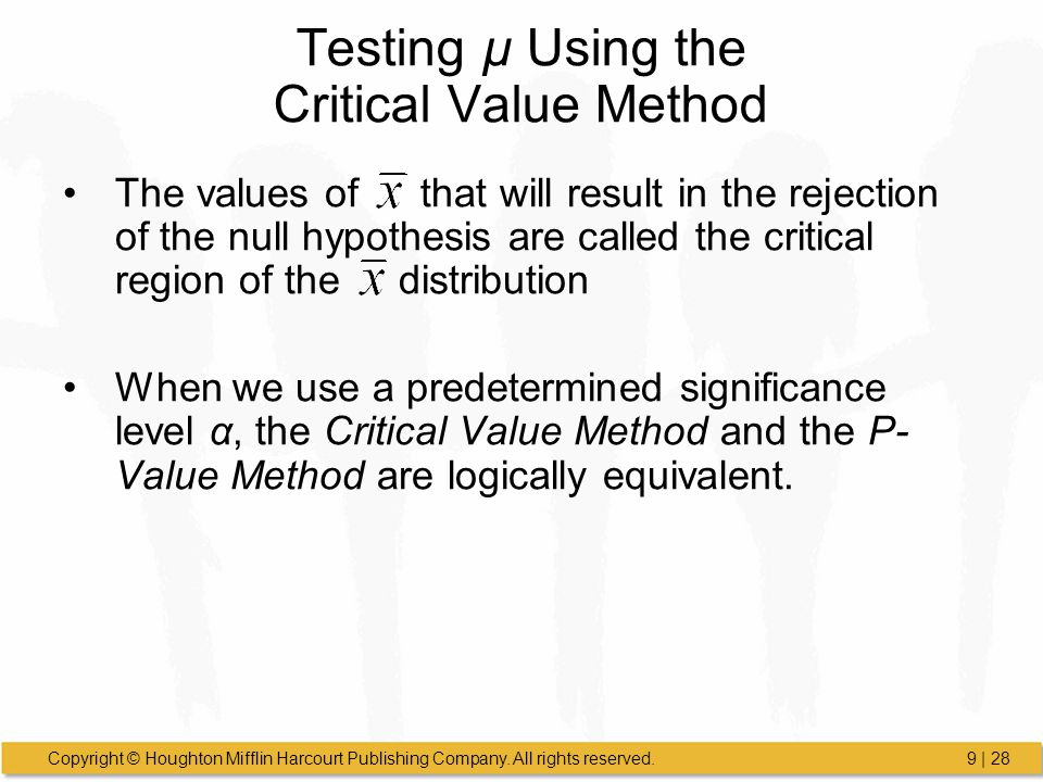 Testing µ Using the Critical Value Method