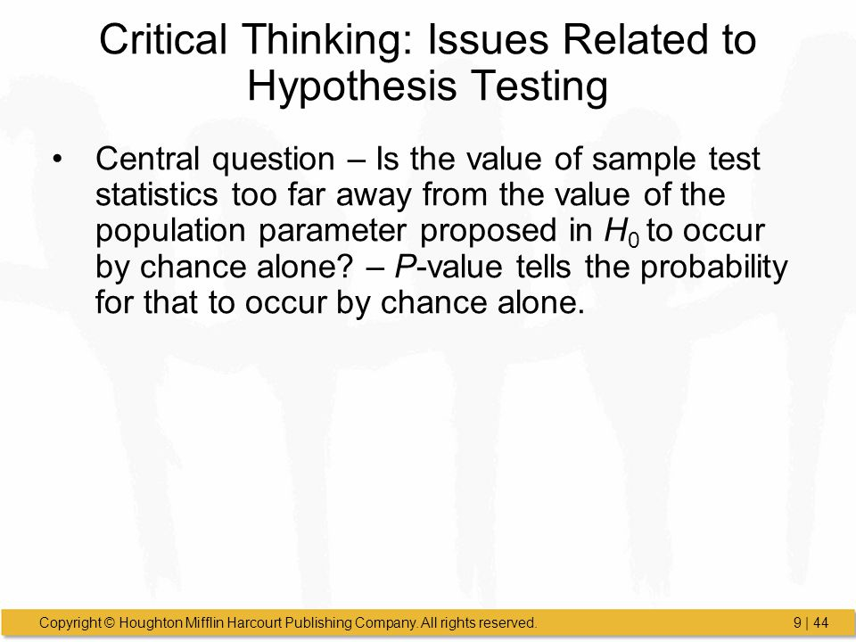 Critical Thinking: Issues Related to Hypothesis Testing