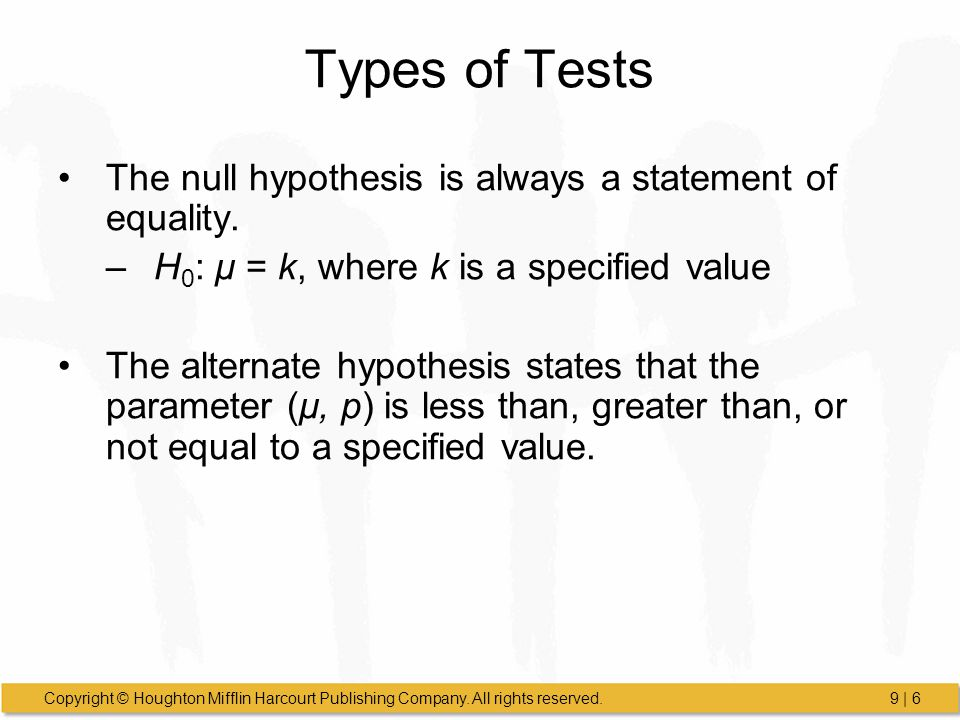 Types of Tests The null hypothesis is always a statement of equality.