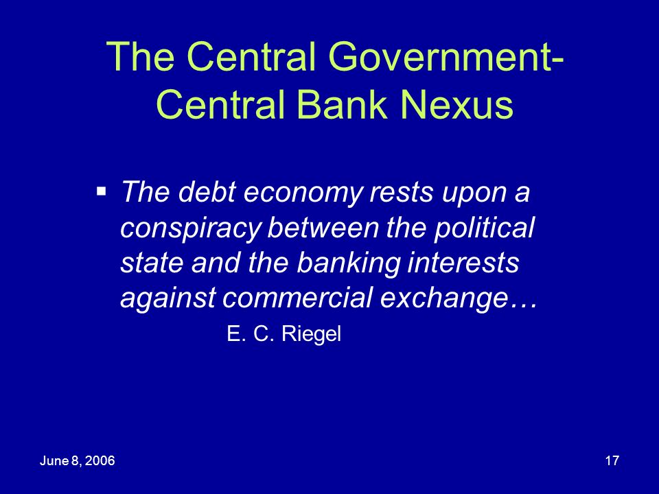 The Central Government-Central Bank Nexus