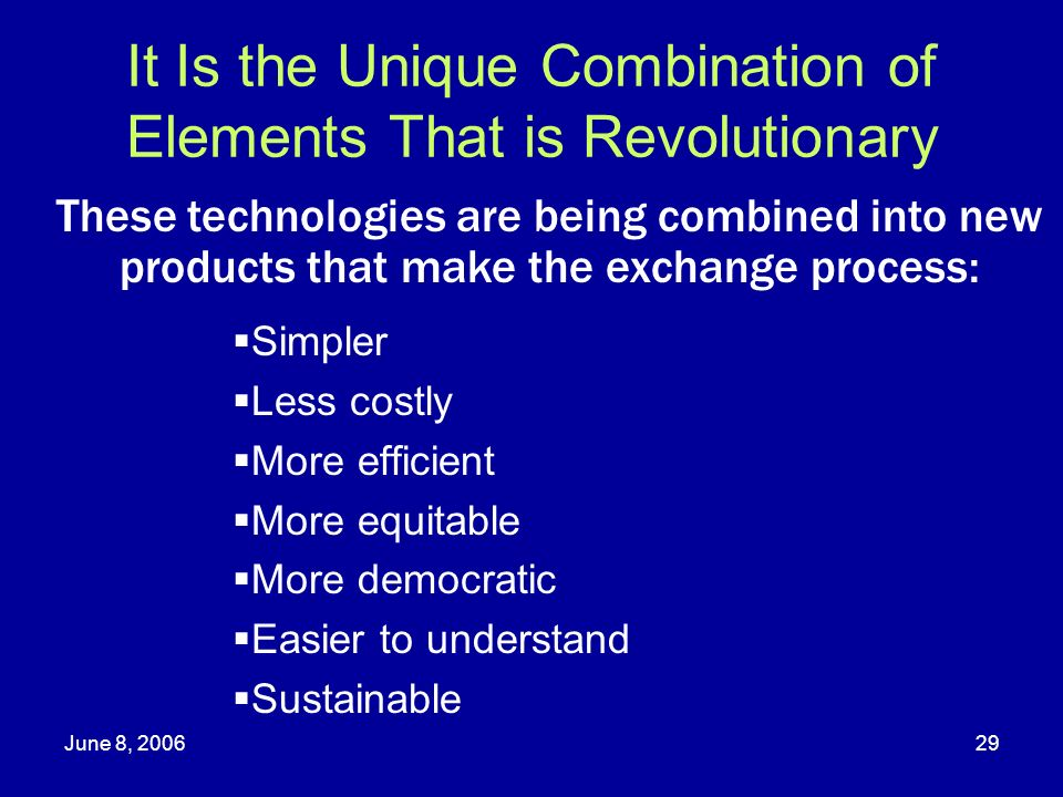 It Is the Unique Combination of Elements That is Revolutionary