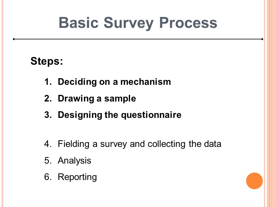 Basic Survey Process Steps: Deciding on a mechanism Drawing a sample