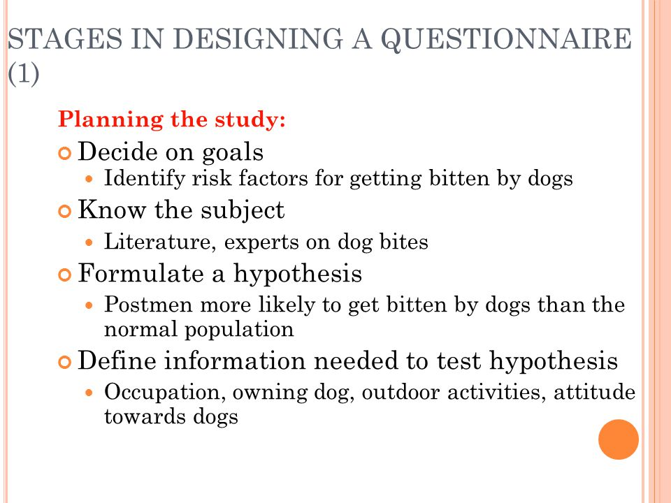 STAGES IN DESIGNING A QUESTIONNAIRE (1)