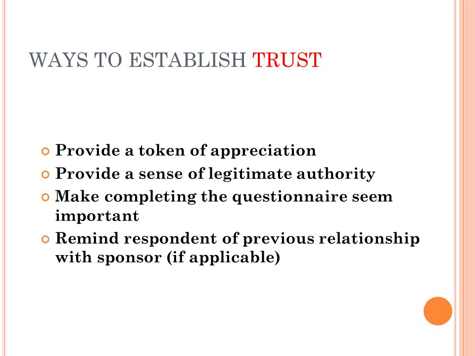 WAYS TO ESTABLISH TRUST